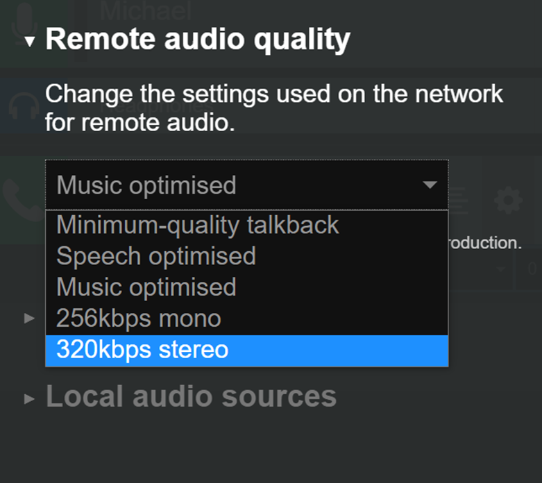Cleanfeed Pro remote audio settings