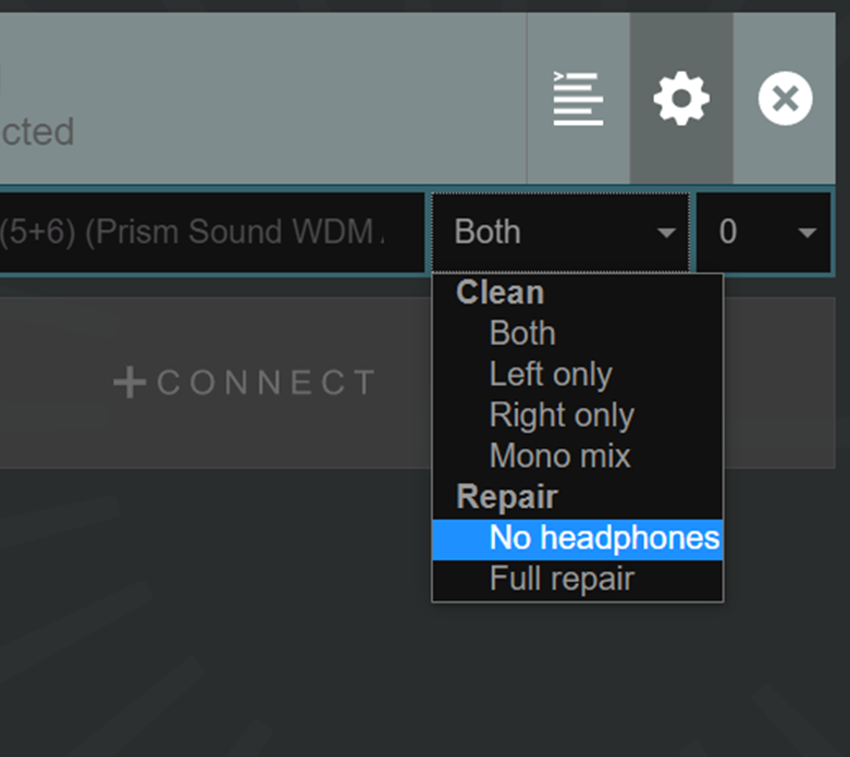 Cleanfeed Pro, selecting audio repair options