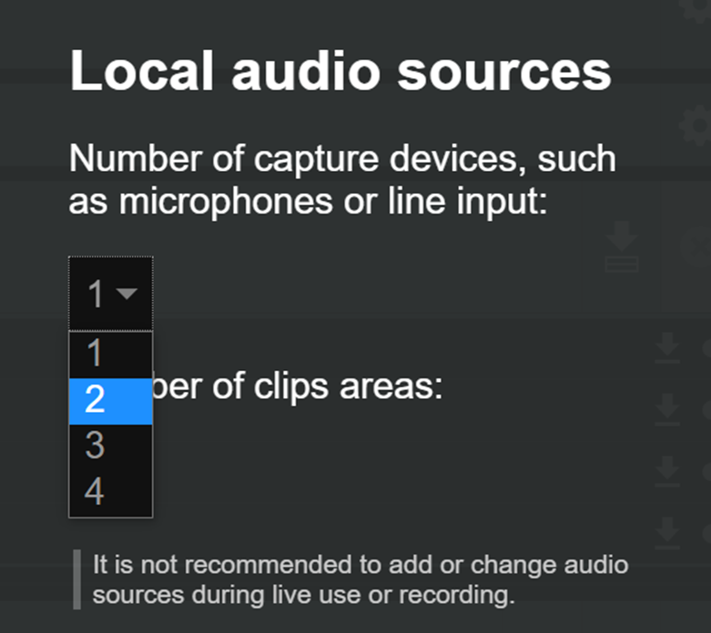 Cleanfeed Pro, selecting the number of local audio sources