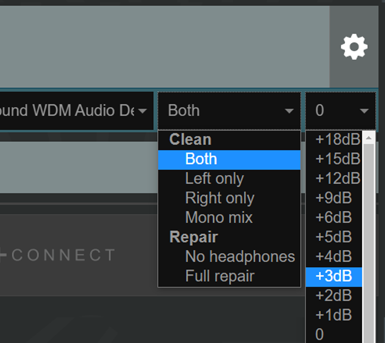 Cleanfeed Pro, selecting the channel mix level in decibels